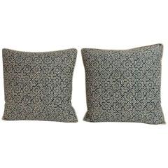 Pair of Green and Natural Batik Decorative Square Pillows