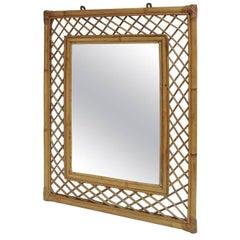 Vintage Woven Bamboo Mirror
