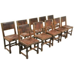 Set of Ten French Oak and Leather Chairs