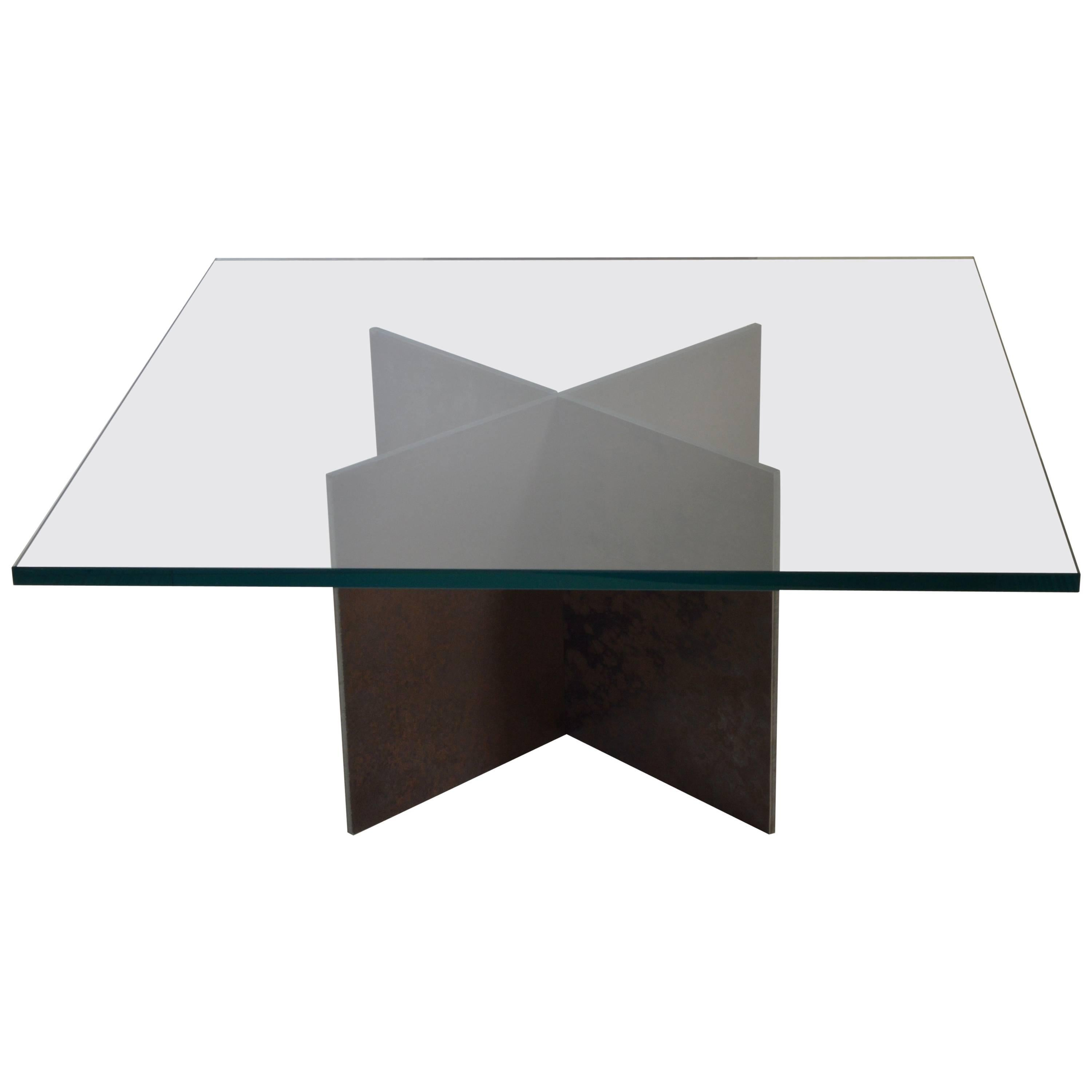 Contemporary Minimalist Patinated Steel and Glass Coffee Table by Scott Gordon