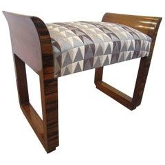 Fabulous Modernist Cubist Design, Macassar Ebony Upholstered Bench