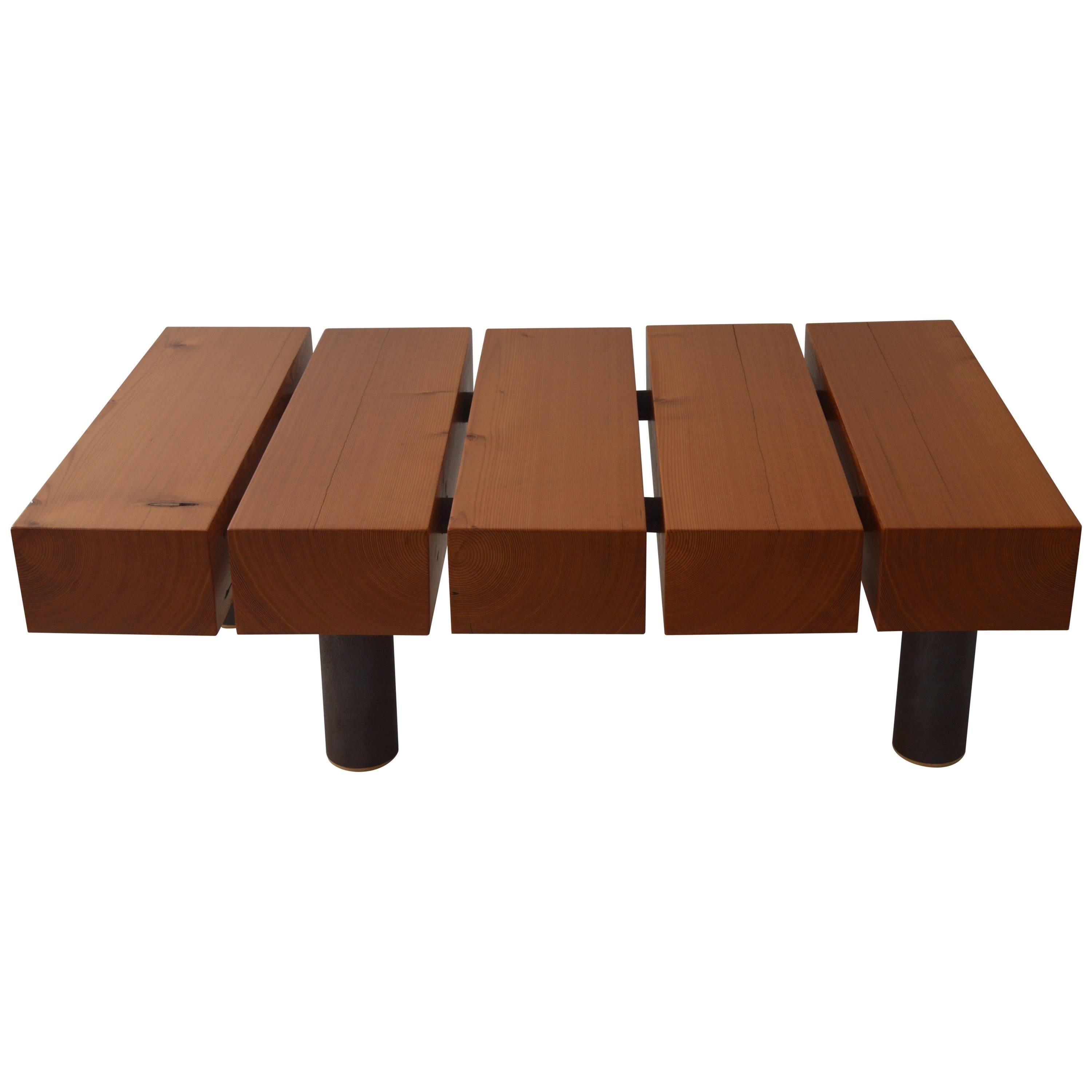 Contemporary Minimalist Wood and Patinated Steel Coffee Table by Scott Gordon