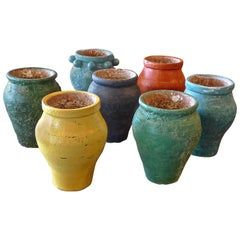 Seven French Painted Terracotta Pots Submerged in the Mediterranean Sea