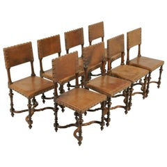 Set of Eight Antique French Walnut and Leather Chairs