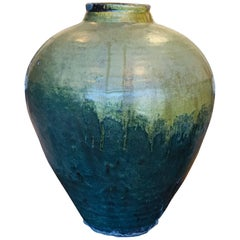 Green Vase Chinese Storage Vessel 1850 Tea Dust Glaze