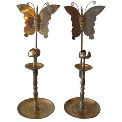 2 French 19th Century Etched Polished Tin Candleholders