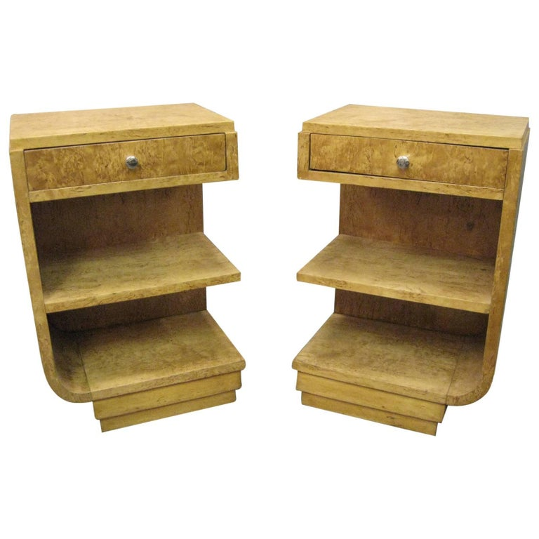 Pair of French Art Deco Burl Maple Cubist Nightstands or Side Tables