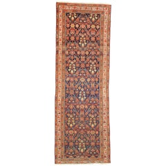Arts & Crafts Style Distressed Antique Persian Malayer Runner, Hallway Runner