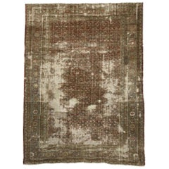 Distressed Antique Persian Sultanabad Rug with Rustic Mountain Adirondack Style