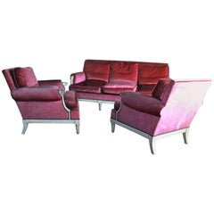 Maurice Hirsch Sofa and Armchairs, 1940s, Louis XVI Style