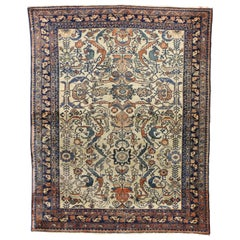 Antique Persian Lilihan Area Rug with Industrial Style