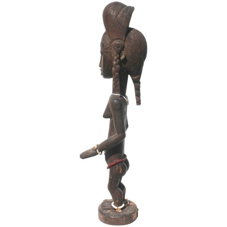 Baule Female Carved Wood Figure, African Sculpture Sotheby's Provenance For Sale