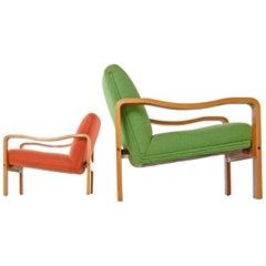 Vintage Original Scandinavian Bent Teak Wool Upholstered Lounge Chairs, 1970s