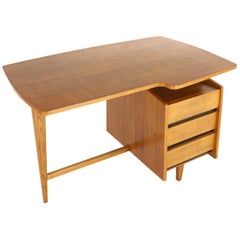 French Free-Form Desk by Jacques Hauville 1950s in Oak