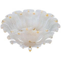 Italian Flush Mount in Murano Glass Milk color leaves and Gold fineshes, 1990s