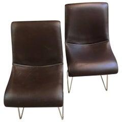 1968 Set of Two Vittorio Introini Leather Seats