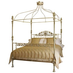 Wide Brass Four Poster Bed with Song Bird Castings and Crown, M4P25