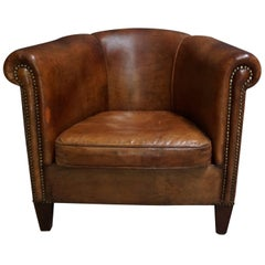 Excellent Pair Of Camel Colored Leather Clad Club Chairs For Sale At Evergreenethics Interior Chair Design Evergreenethicsorg