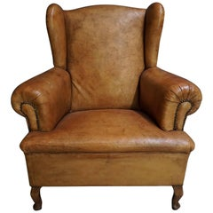 Dutch Antique Cognac-Colored Leather Club Chair