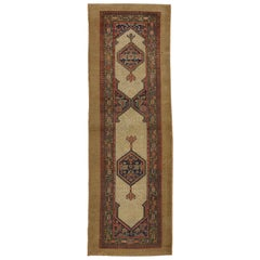 Antique Persian Malayer Camel Hair Runner, Hallway Runner