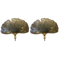 Pair of Murano Glass Shell Sconces, 1980s