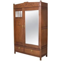 Oak Dutch Art Nouveau Arts & Crafts Wardrobe or Armoir, 1900s