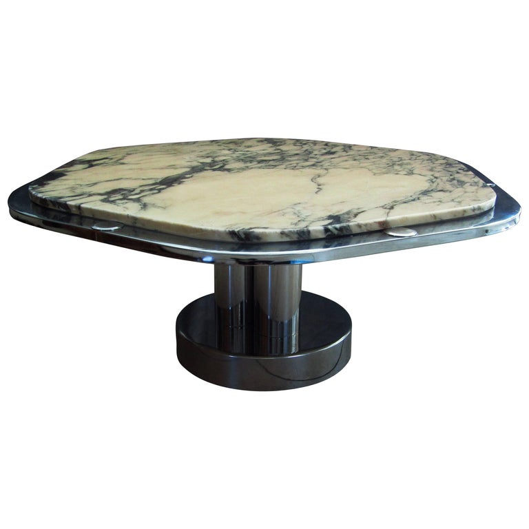 Midcentury Chrome and Carrara Marble Coffee Table, France, 1968