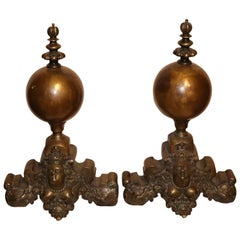 Pair of French Baroque Bronze Chenets