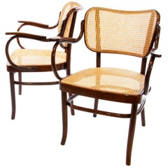 Gustav Schneck Bentwood Armchair A283 F for Thonet 1930 Wickerwork Bauhaus Era