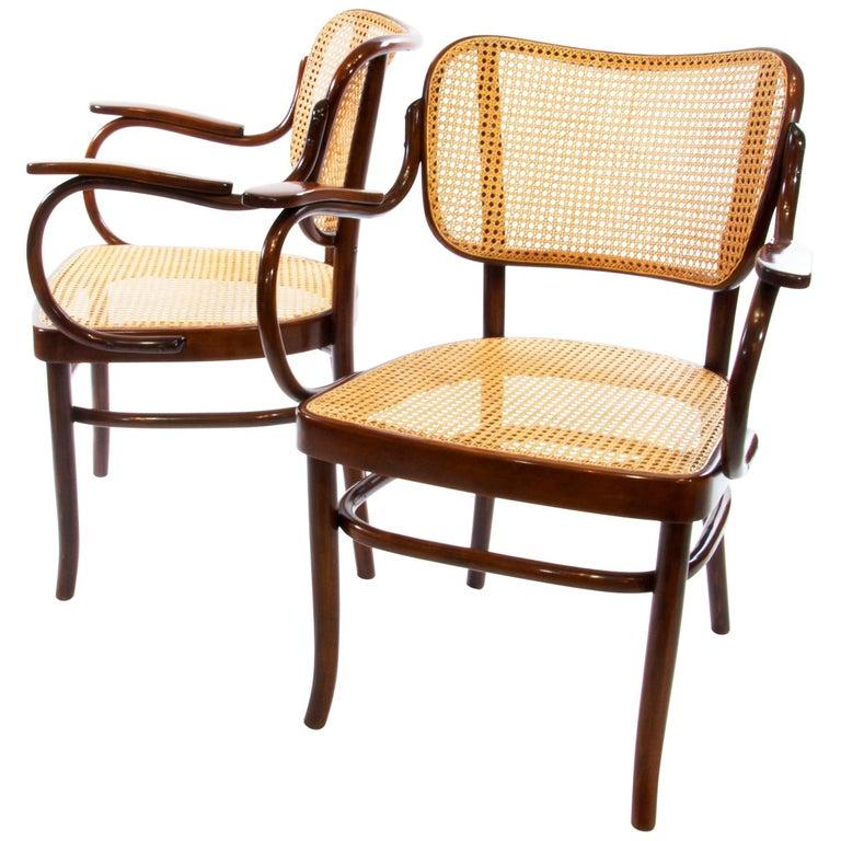 Gustav Schneck Bentwood Armchair A283 F for Thonet 1930 Wickerwork Bauhaus Era