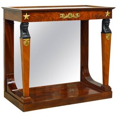 19th Century French Empire Style Egyptian Themed Mahogany Vitrine Console Table