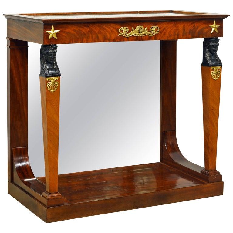 19th Century French Empire Style Egyptian Themed Mahogany Vitrine Console Table
