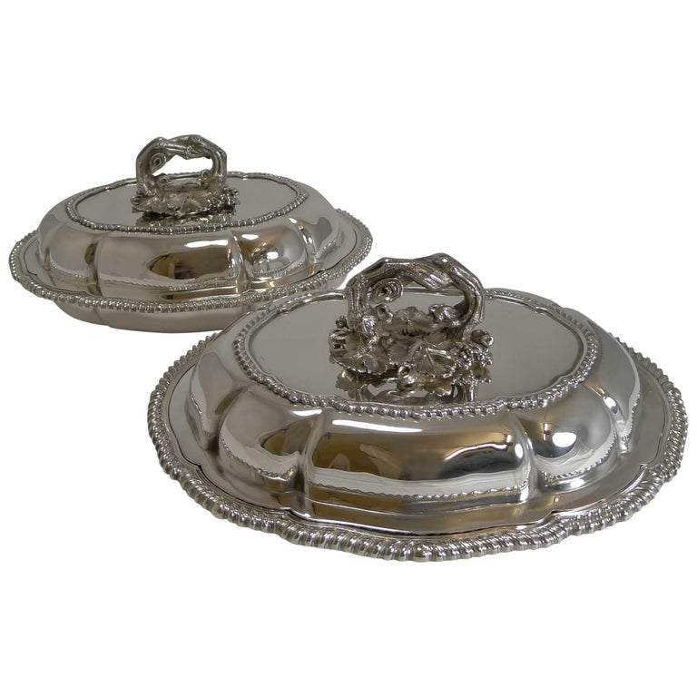 Pair of Antique English Entree Dishes by Elkington and Co, 1862