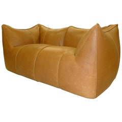 Le Bambole Sofa design Mario Bellini for B&B Italia 1980s restored with leather