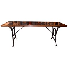 19th Century Victorian Wrought Iron and Polished Copper Table