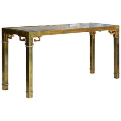 Mid-Century Modern Mastercraft Chinoiserie Solid Brass Glass Top Console Table