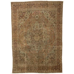 Distressed Antique Persian Tabriz Rug with Traditional Style