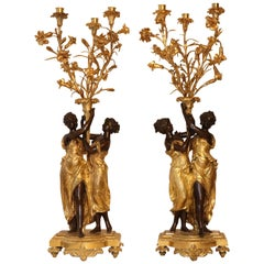 Pair of Louis XVI Gilt Bronze Candelabra Attributed to Etienne Falconet