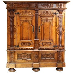 Austrian Baroque Two Doors Walnut Wood, Birch, Rosewood Wardrobe Cabinet