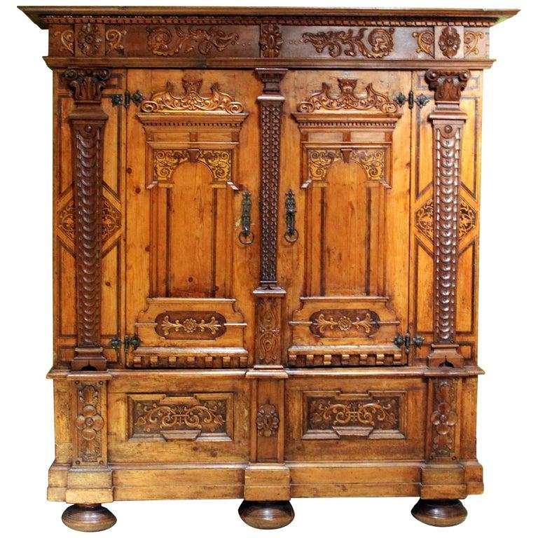 Austrian Baroque Two Doors Walnut Wood, Birch, Rosewood Wardrobe Cabinet