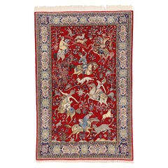 Vintage Persian Qum Rug with Pictorial Hunting Scene