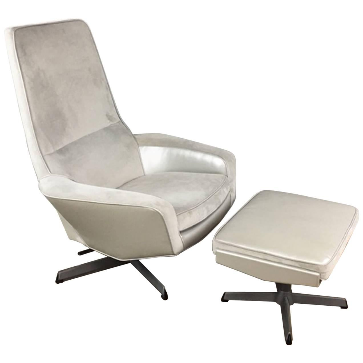 Kofod Larsen High Back Lounge Chair And Ottoman For Sale