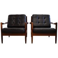 Mid Century Modern Scandinavian Leather Black Armchairs