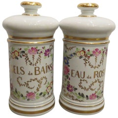 20th Century French Porcelain, Hand-Painted Lidded Jars