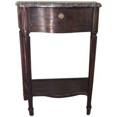 19th Century, Stained Wooden French Console with Gray Marble Top