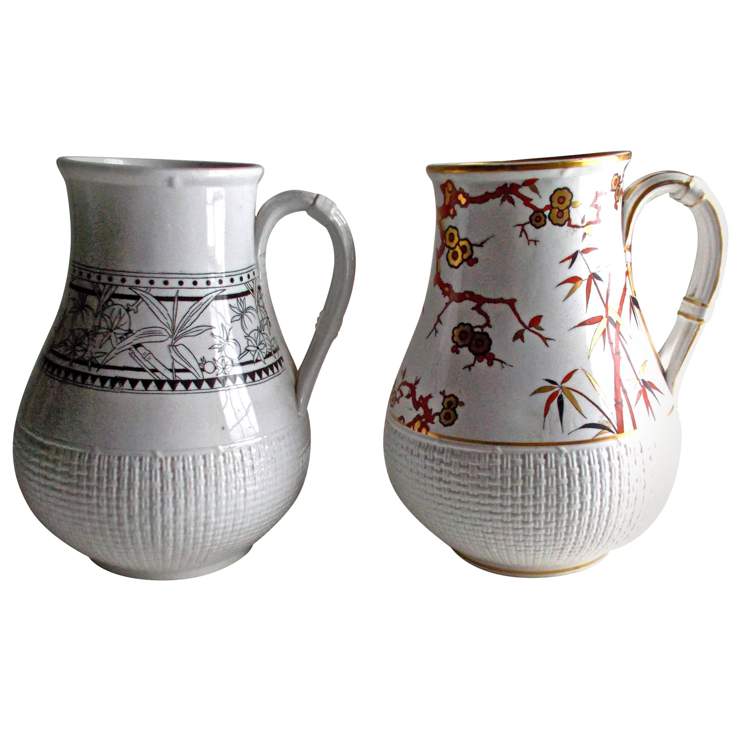 Two Minton's Japonesque Water Pitchers Attributed to Christopher Dresser