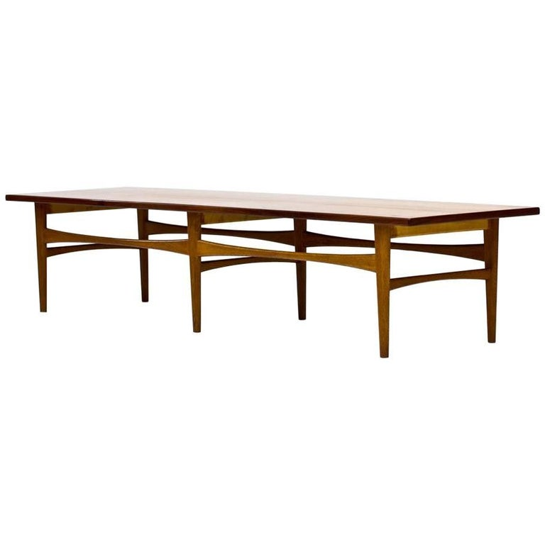 Scandinavian Design Teak and Oak Bench or Coffee Table by Eric Johansson, 1950s
