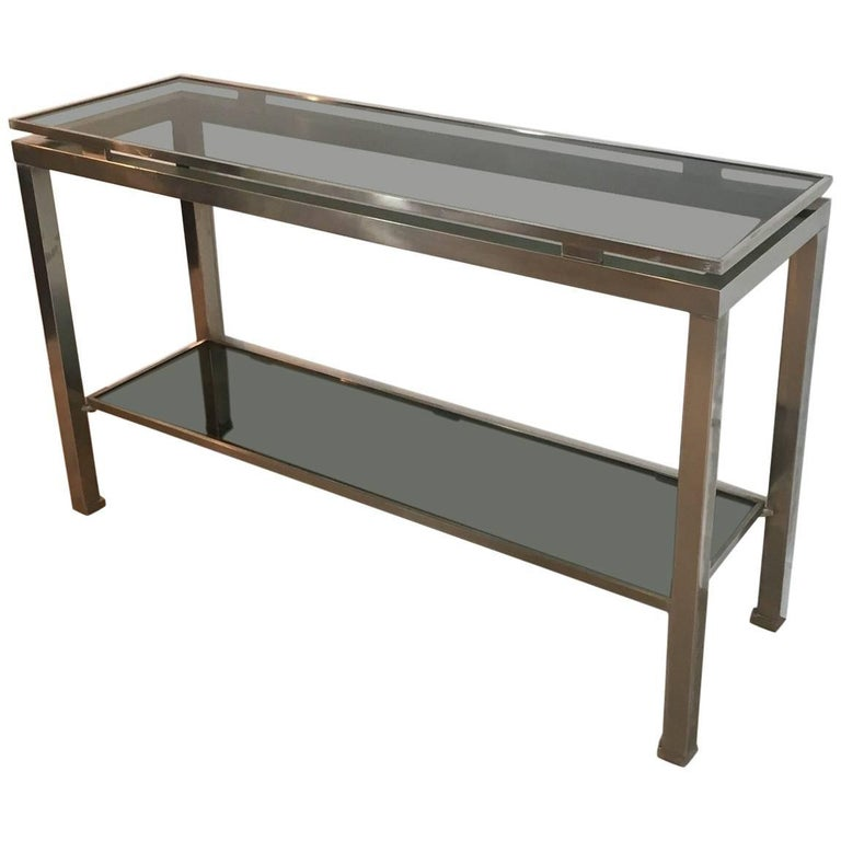 Mid-Century Modern Brushed Steel Console by Guy Lefèvre for Maison Jansen