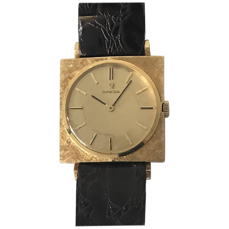 Omega Textured Gold Dress Watch For Sale