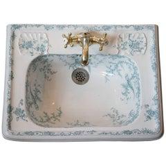 Magnificent 1862-1904 Hand-Painted Cauldon Porcelain Sink Robin's Egg Blue Art